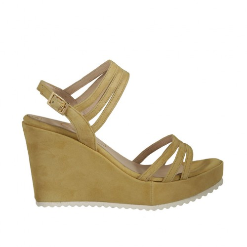 Woman's sandal in yellow suede with platform and wedge heel 8 - Available sizes:  32