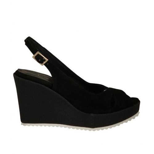 Sandalia para mujer en gamuza y tejido negro con plataforma y cuña 8 - Tallas disponibles:  33, 34