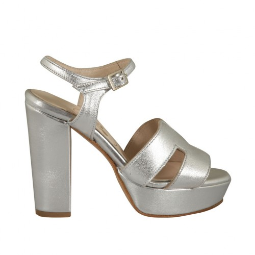 Woman's sandal in silver laminated leather with strap, platform and heel 10 - Available sizes:  32, 42, 46