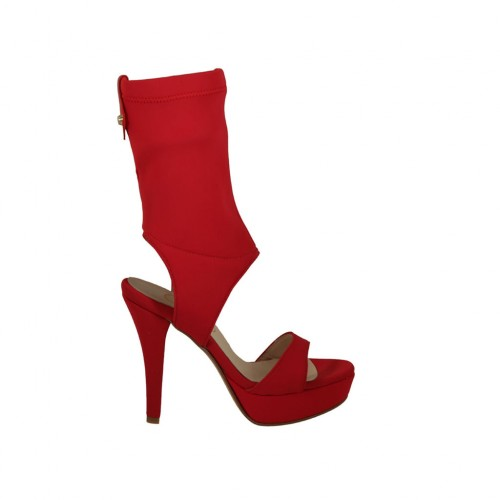 Woman's sandal with platform in red elastic fabric heel 11 - Available sizes:  32, 33, 34, 42, 43, 46