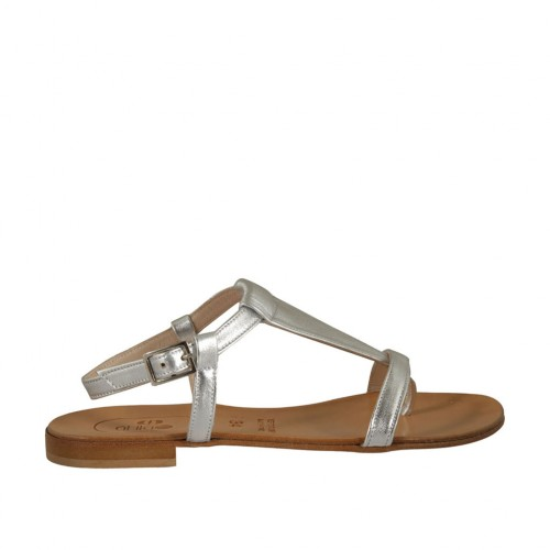 Woman's flip-flop strap sandal in silver laminated leather heel 1 - Available sizes:  33, 47