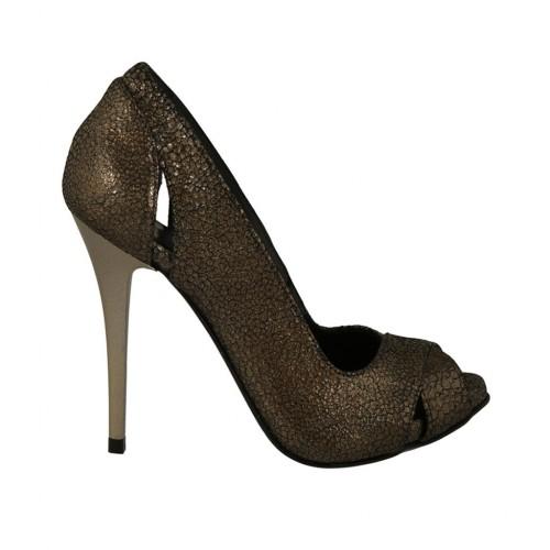 design intemporel 79ce7 363f6 Escarpin à bout ouvert pour femmes avec Plateau en cuir imprimé lamé bronze  talon 11