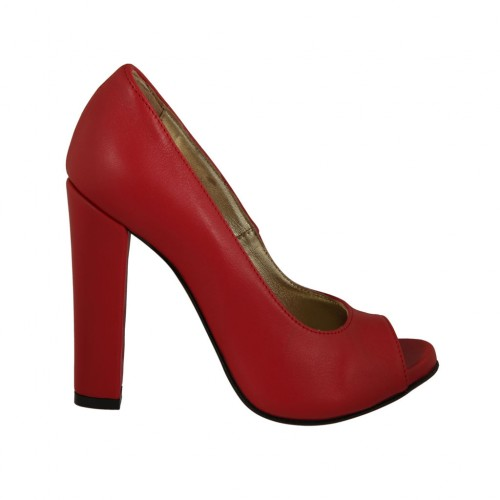 Woman's open toe pump with platform in red leather heel 11 - Available sizes:  31, 33, 34