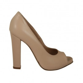 Woman's open toe pump with platform in nude leather heel 11 - Available sizes:  33, 43, 44, 45, 46