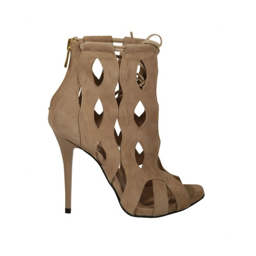 Woman's open shoe with laces, zipper and platform in beige suede heel 11 - Available sizes:  31, 33, 34, 45