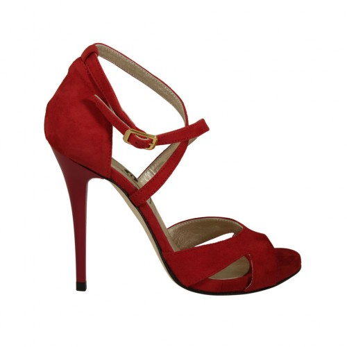 Woman's open shoe with crossed strap  and platform in red suede heel 11 - Available sizes:  33, 34