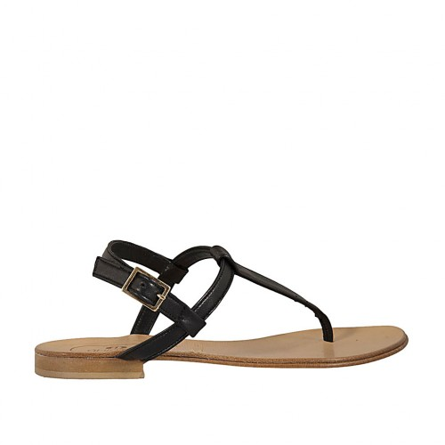 75b4188df Woman s thong sandal in black leather heel 1 - Available sizes  42