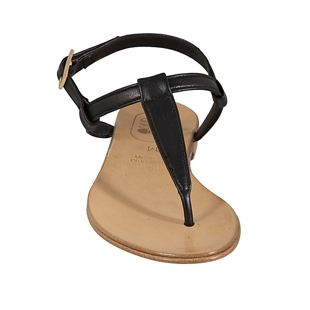 e3610f14e ... Woman s thong sandal in black leather heel 1 - Available sizes  42
