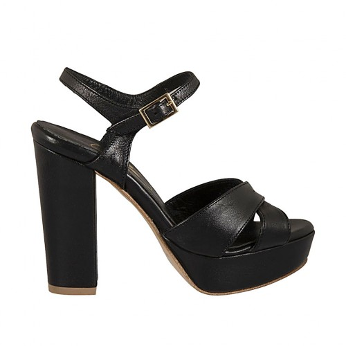 Woman's strap sandal with platform in black leather with block heel 10 - Available sizes:  42