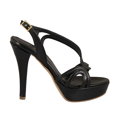 Woman's sandal in black leather with platform and heel 11 - Available sizes:  44