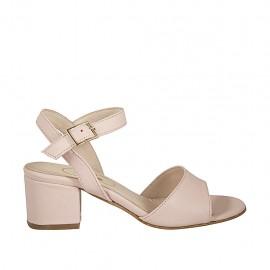 Sandalo da donna con cinturino in pelle rosa cipria tacco 5 - Misure disponibili: 32, 43, 45, 46