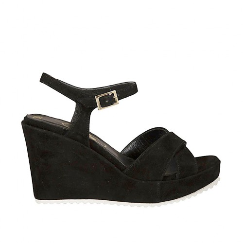 Woman's sandal in black suede with strap, platform and wedge heel 8 - Available sizes:  32