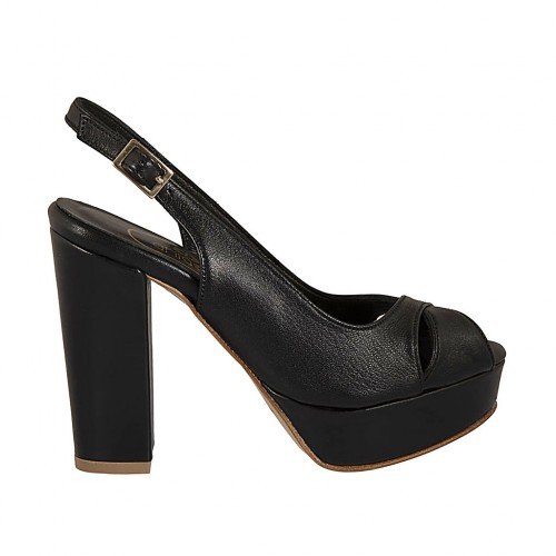 Woman's platform sandal in black leather heel 10 - Available sizes:  43