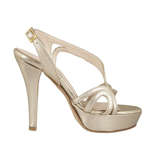 Woman's platform sandal in platinum laminated leather heel 11 - Available sizes:  42, 45, 46