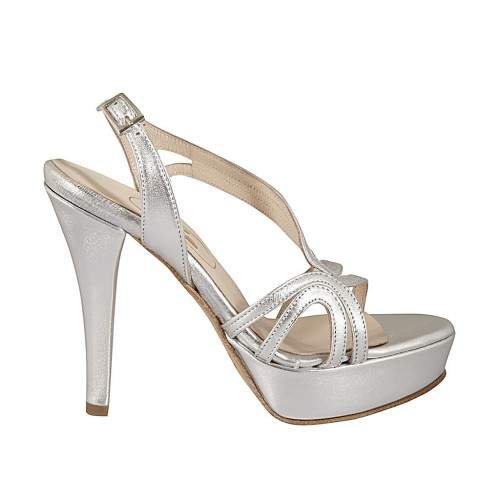 Woman's sandal in silver laminated leather with platform and heel 11 - Available sizes:  42, 46