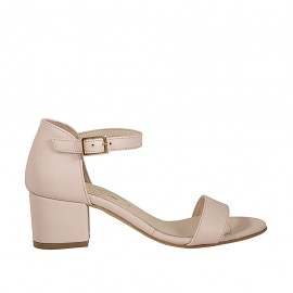 Woman's open shoe with strap in powder rose leather heel 5 - Available sizes:  32, 43, 45