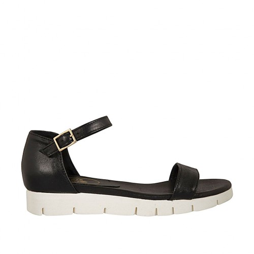 Woman's open strap shoe in black leather wedge heel 2 - Available sizes:  33, 45