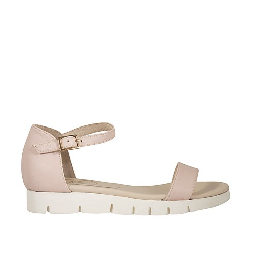 Woman's open shoe with strap in rose leather wedge heel 2 - Available sizes:  33, 43, 47