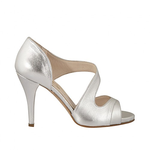 Woman's open shoe in silver laminated leather heel 9 - Available sizes:  31, 46