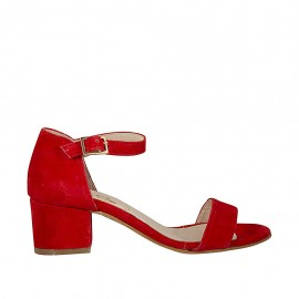 Woman's open shoe with strap in red suede heel 5 - Available sizes:  45