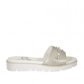 Women's open mule with pearls in platinum leather wedge heel 3 - Available sizes:  33, 44