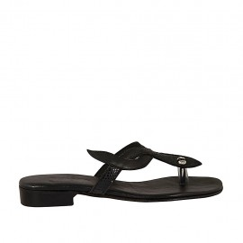 Woman's thong mule in black printed leather and black leather heel 2 - Available sizes:  32, 43, 44