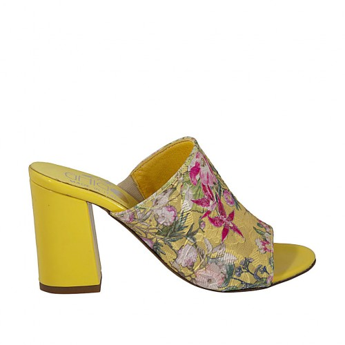 Woman's open mules in yellow patent leather and fabric with flowers print heel 7 - Available sizes:  42
