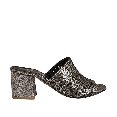 Woman's open mules in pierced leather in lead color heel 5 - Available sizes:  34, 42