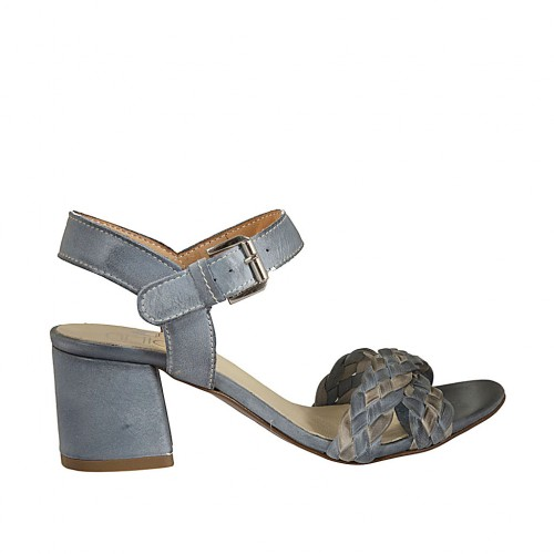 Woman's strap sandal in braided blue grey and grey leather heel 5 - Available sizes:  42, 43, 44
