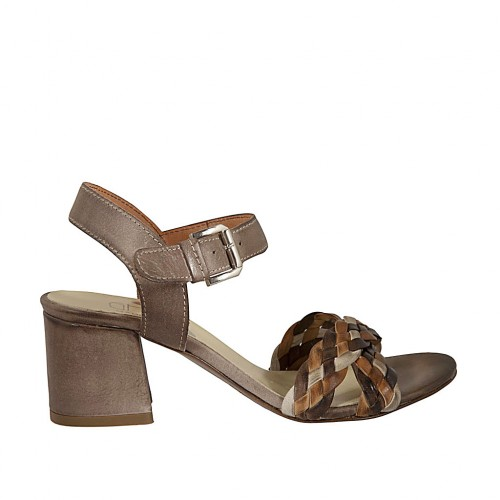 Woman's strap sandal in taupe leather and braided beige, dark brown and tan leather heel 5 - Available sizes:  42, 44