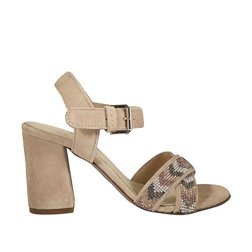 Woman's strap sandal with rhinestones in beige suede heel 7 - Available sizes:  44