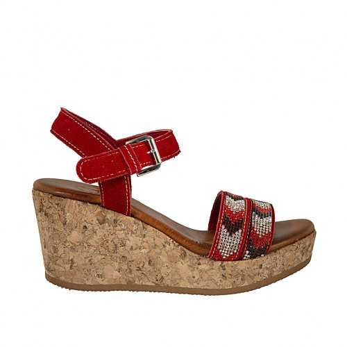 Woman's strap sandal with rhinestones in red suede with platform and wedge 7 - Available sizes:  42, 43, 45