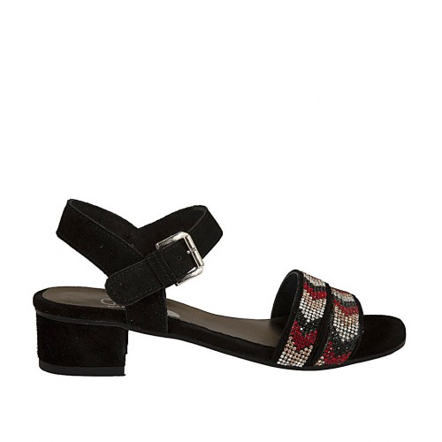 Woman's sandal with anklestrap and rhinestones in black suede heel 3 - Available sizes:  43