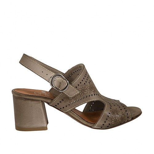 Woman's sandal in taupe pierced leather heel 5 - Available sizes:  33, 42, 43