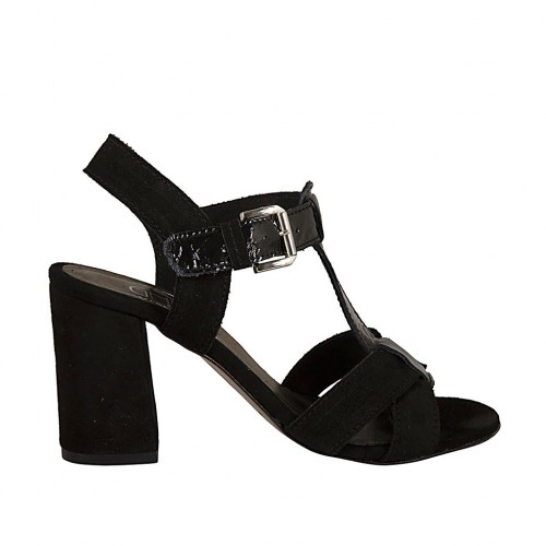 Woman's strap sandal in black patent leather and suede heel 7 - Available sizes:  33, 34, 43, 45