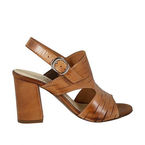 Woman's sandal in tan-colored cut leather heel 7 - Available sizes:  42, 43