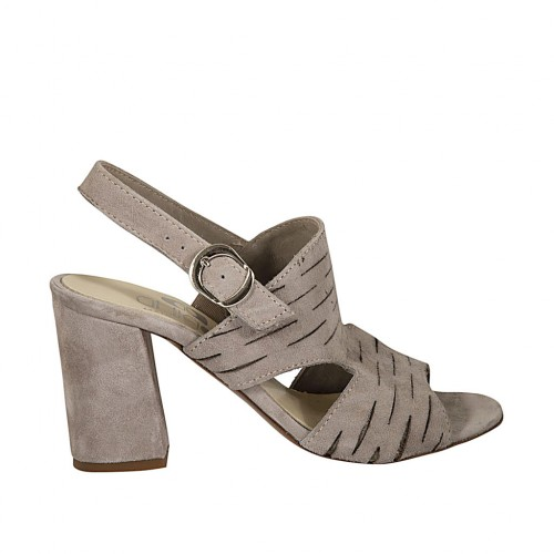 Woman's sandal in dove grey cut suede heel 7 - Available sizes:  32, 33, 42, 43