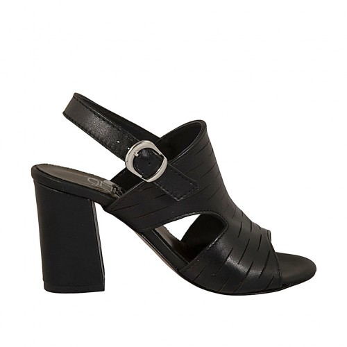 Woman's sandal in black cut leather heel 7 - Available sizes:  42, 43