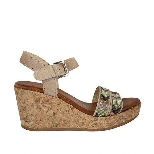 Woman's sandal in beige suede with strap, rhinestones, platform and wedge 7 - Available sizes:  43, 44