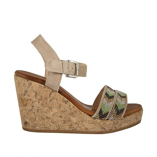 Woman's sandal in beige suede with strap, rhinestones, platform and wedge 9 - Available sizes:  42, 43, 44, 45
