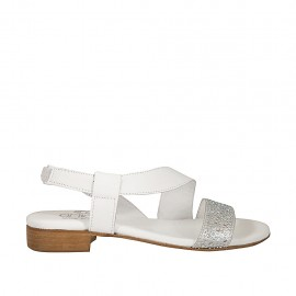 Woman's sandal in white and laminated silver leather with elastic band and rhinestones heel 2 - Available sizes:  34, 42, 43, 44, 45