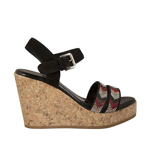 Woman's sandal in black suede with strap, rhinestones, platform and wedge 9 - Available sizes:  32, 42, 43, 44