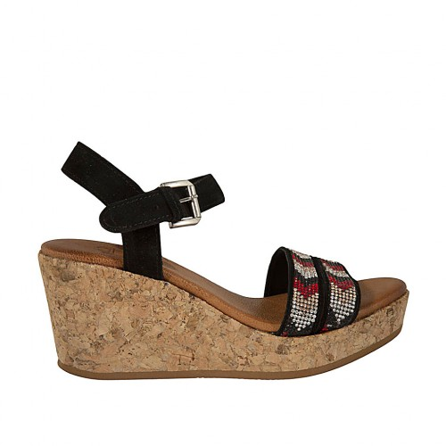 Woman's sandal in black suede with strap, rhinestones, platform and wedge 7 - Available sizes:  43