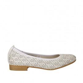 Bailarina para mujer en piel perforada color blanco talon 2 - Tallas disponibles:  34, 42, 43, 44, 45