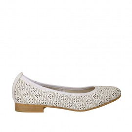 Woman's ballerina shoe in white leather heel 2 - Available sizes:  34, 42, 43, 44, 45