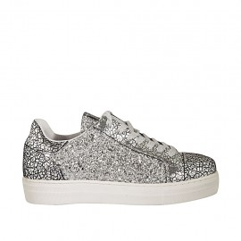 Woman's laced shoe in silver leather and printed leather with removable insole, glitter and wedge heel 3 - Available sizes:  44