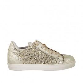 Zapato con cordones para mujer en piel y piel imprimida platino con plantilla extraible y cuña 2 - Tallas disponibles:  33, 34, 42, 43, 45