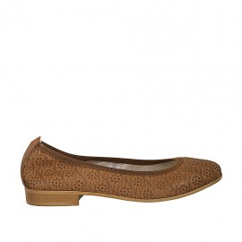 Woman's ballerina shoe in tan-colored pierced leather heel 2 - Available sizes:  33, 34, 42, 43, 44