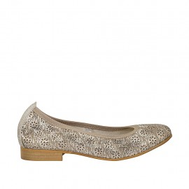 Woman's ballerina shoe in pierced taupe leather heel 2 - Available sizes:  33, 34, 42, 43, 44