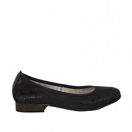 Woman's ballerina shoe in blue leather heel 2 - Available sizes:  33, 44